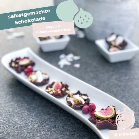 Selbstgemachte Schokolade, vegan, ohne Zucker